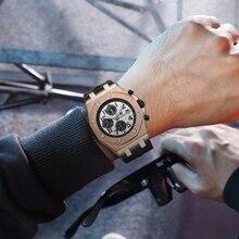 KIMSDUN Top Brand Fashion Mens Watch relogio masculino Trends Leather Strap Three-Eye Waterproof Automatic Mechanical Men
