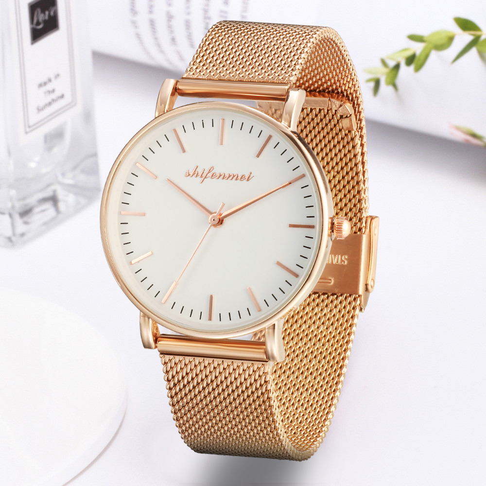 Shifenmei S1075A Watches Luxury Women Quartz Bracelet Hand Mesh Slim Wrist Lady Gold Gift Watch Ultra Thin Women's Casual Watch