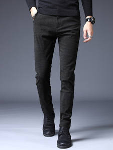Winter Pants Long-Trousers Classic Elastic Warm-Work Black Stripes Male Men's Straight