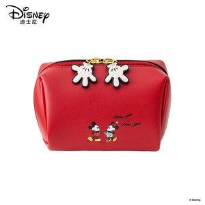 Image 1 - Disney Kosmetische Tasche Nette Mickey Multi funktion Frauen Handtasche Make Up Wasserdichte Reise Kosmetik Tasche Frauen Leder Handtaschen