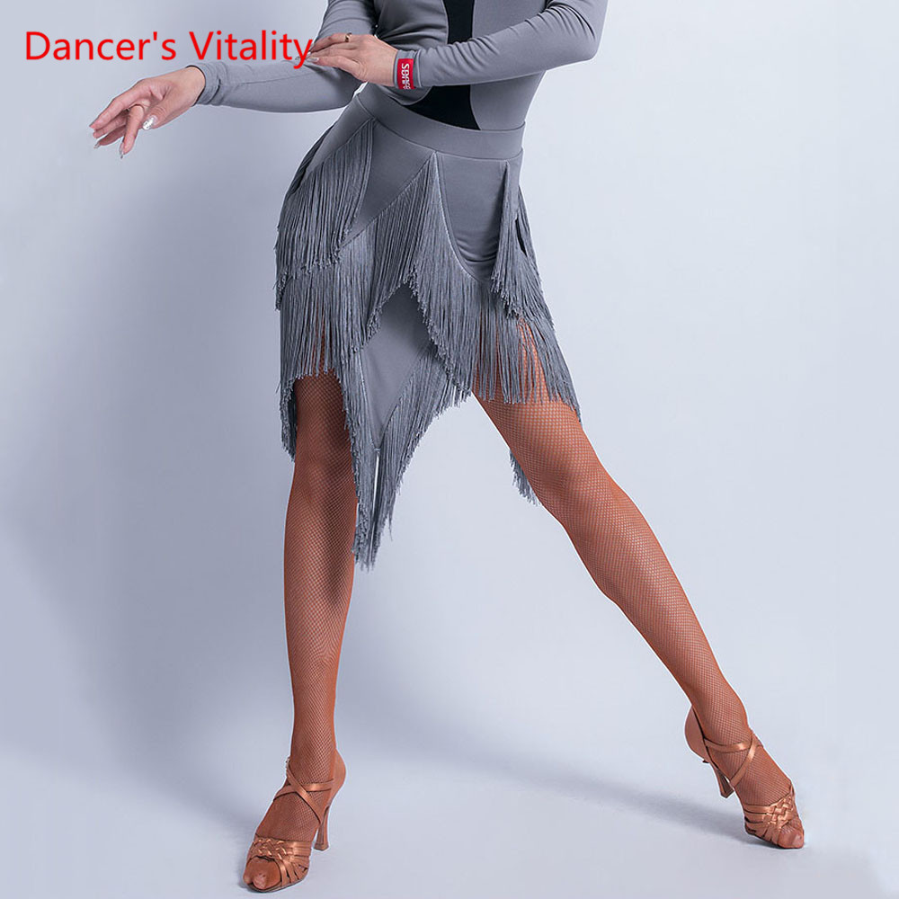 Latin Dance Practice Clothes Female Adult Sexy Tassel Skirt Winter Rumba Samba Dance Profession Competition Costume