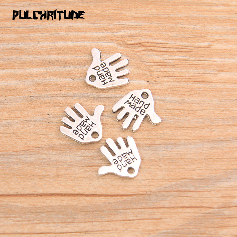 """PULCHRITUDE 60pcs 13*11mm Two Color Letter """"HAND MADE """"Charms Palm Pendants Handmade  Vintage For DIY Jewelry Making Findings 3"""