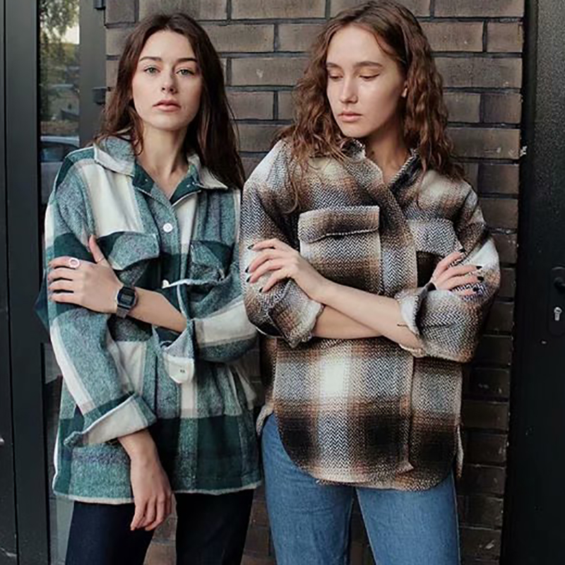 チェック柄女性特大ウールシャツ 2020 ファッションレディースソフト厚いシャツパーティー女性のエレガントなトップスヴィンテージ女の子シックなシャツ