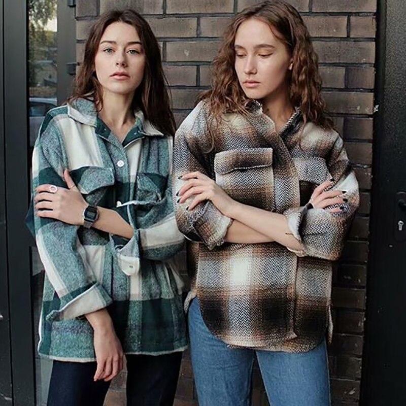 Camisas a cuadros holgadas de lana 2020 para mujer, camisa suave y grueso a la moda para mujer, blusas holgadas elegantes para fiesta, camisa elegante vintage de mujer elegante