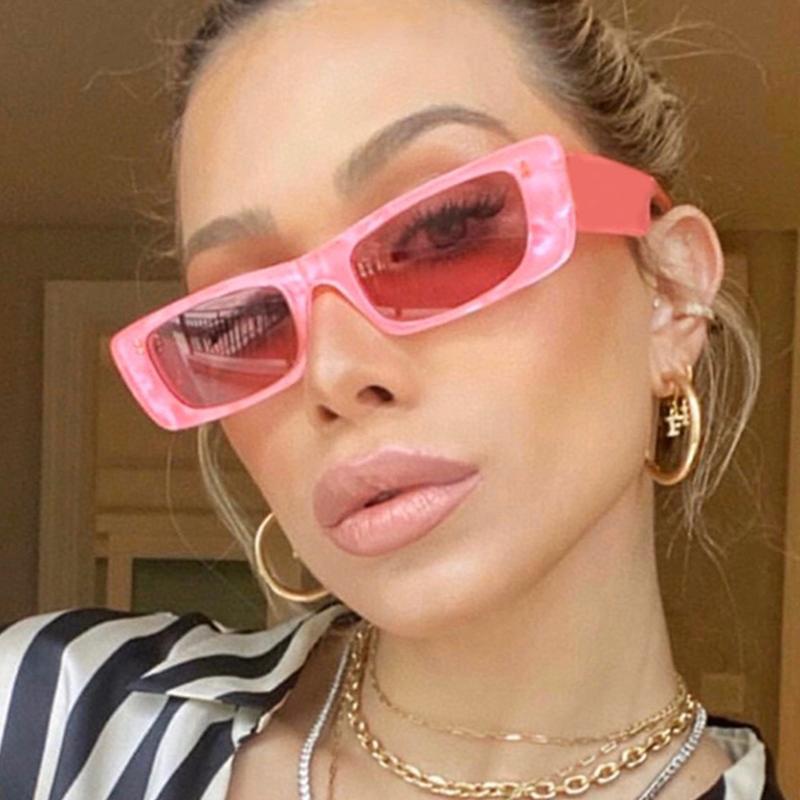 Vintage Small Pink Shades For Women Square Sunglasses 2021 Luxury Designer Rectangle Sun Glasses Female Nude Eyewear UV400