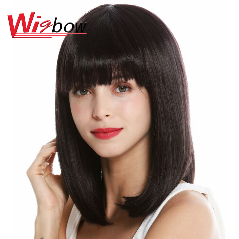 Brazilian Wig Straight Human Hair Short Wigs Straight Bob Wigs Pre-plucked Wigs With Bangs  For Black Woman