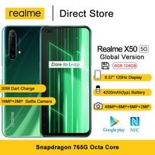 Global versionrealme x50 5g telefone móvel 6gb 128gb 6.57 cameras snapsnapdragon 765g 48mp quad câmeras traseiras 30w dardo carga smartphone nfc