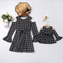 plaid mother daughter dress mommy and me clothes family matching outfits look off shoulder clothing mom dresses