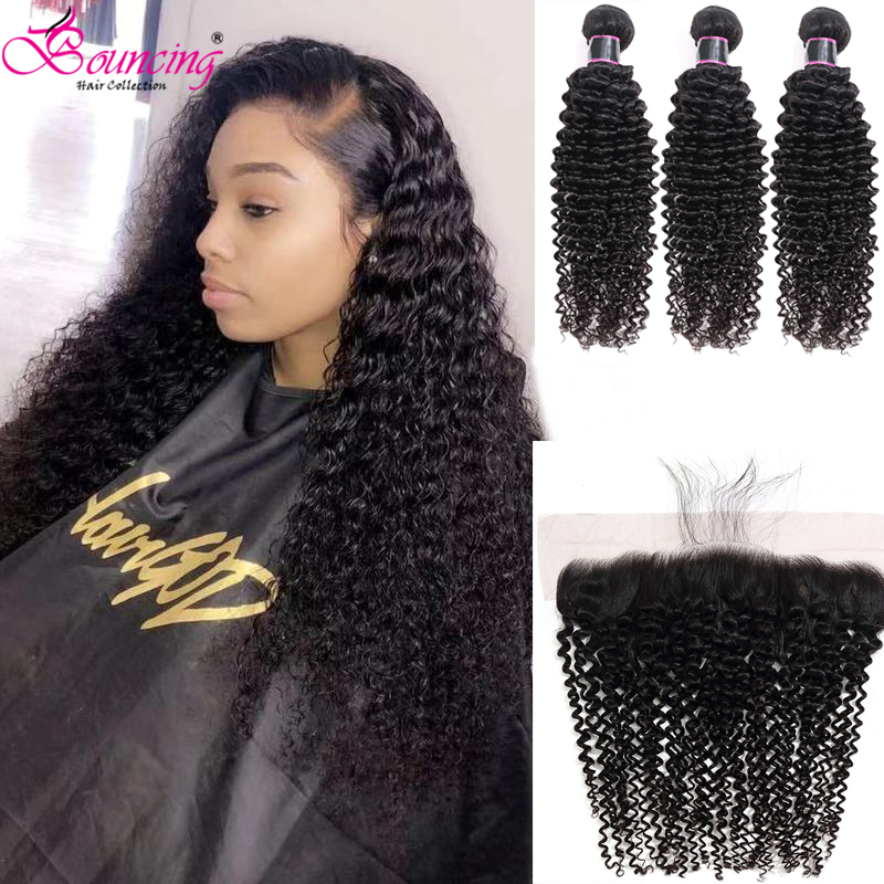 Bouncing Hair Kinky Curly Hair Bundles With Closure Natural Color Brazilian Human Hair Weave Hair Bundles With Frontal
