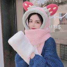 Kobiety Student Winter Warm 3 w 1 kaptur pluszowy szalik kapelusz zestaw rękawiczek Cartoon duże uszy truskawkowe kontrast kolor wiatroszczelna czapka tanie tanio CN (pochodzenie) WOMEN Poliester Dla dorosłych Moda T3LC6EE406960-W Stałe Plush Blue Khaki Pink White 1 pc