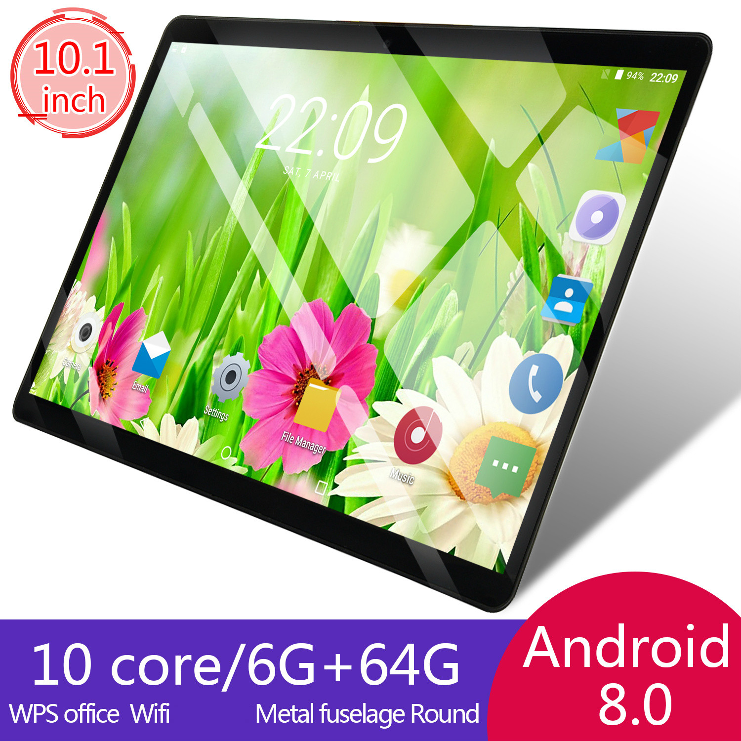 2.5D Glass 6G+64G/16G 10 Inch 4G LTE Tablet Pc Android8.0 Octa Core PC Tablets Resolving Power 8MP 5000mAh