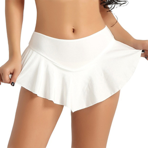 Sexy Short Mini Skirt Culottes Women Micro Mini Skirt Dance Clubwear Metallic Pleated Skirt 3 Colors