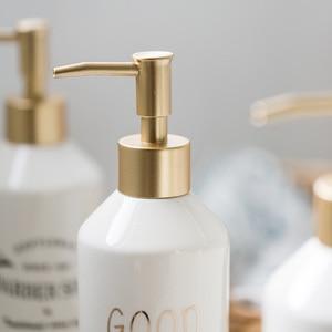 Image 3 - 420ml Nordic Ceramic Emulsion Empty Bottle Soap Dispenser Bathroom Liquid Soap Dish Hotel Club Hand Sanitizer Shower Gel Shampoo