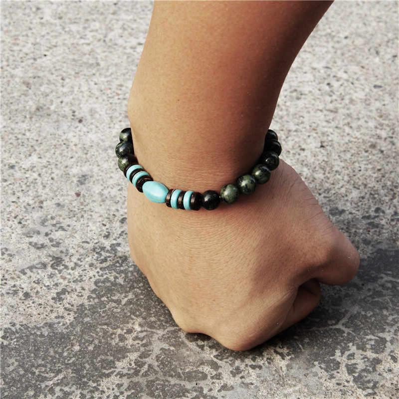 Áo Thời Trang Nam Phong Cách Thiết Kế Mới Turquoises Dung Nham Đá Đính Hạt Vòng Tay Charm Nam Homme Người Trang Sức Quà Tặng