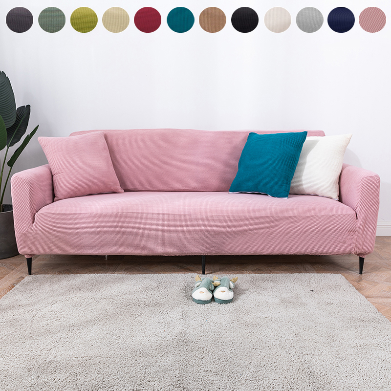 1/2/3/4 Seat Knitted Thick Elastic Sofa Cover Polar Fleece Fabric All-inclusive Cushion Couch Cover For Living Room Sofas