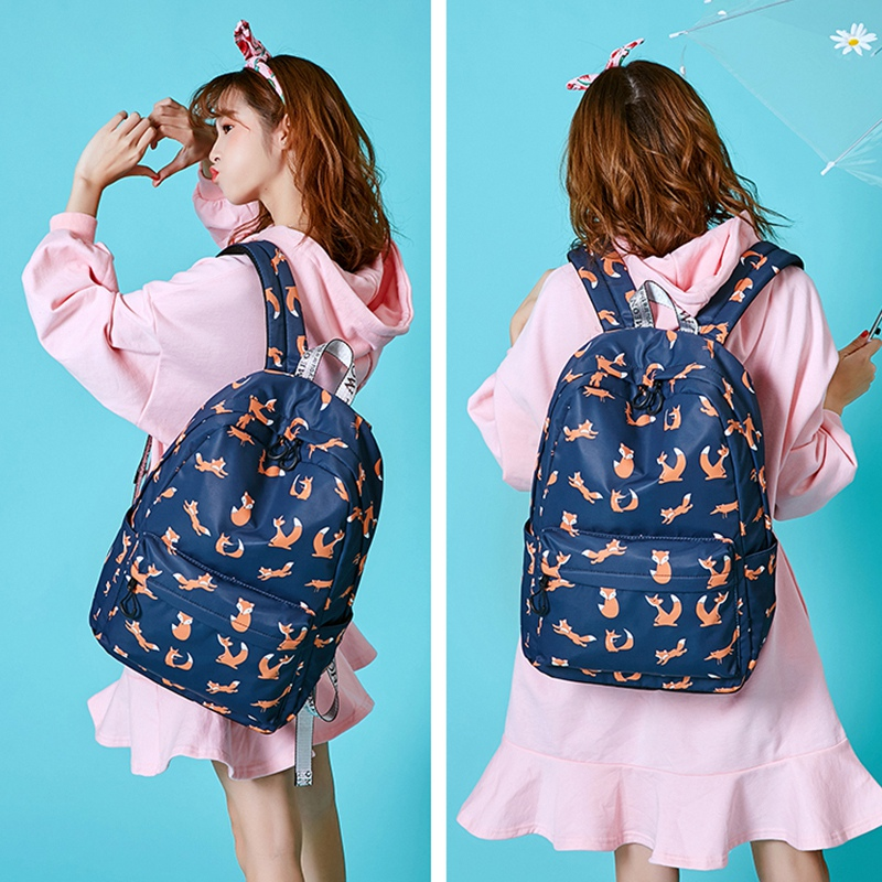 Cute Animal Fox Printing School Backpacks Waterproof Women Bag Laptop Backpack Female School Backpack