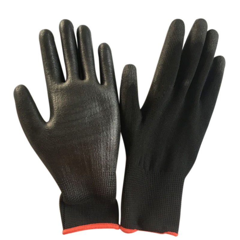 Black Nylon PU Safety Work Gloves Builders Grip For Palm Coating Safety Gloves