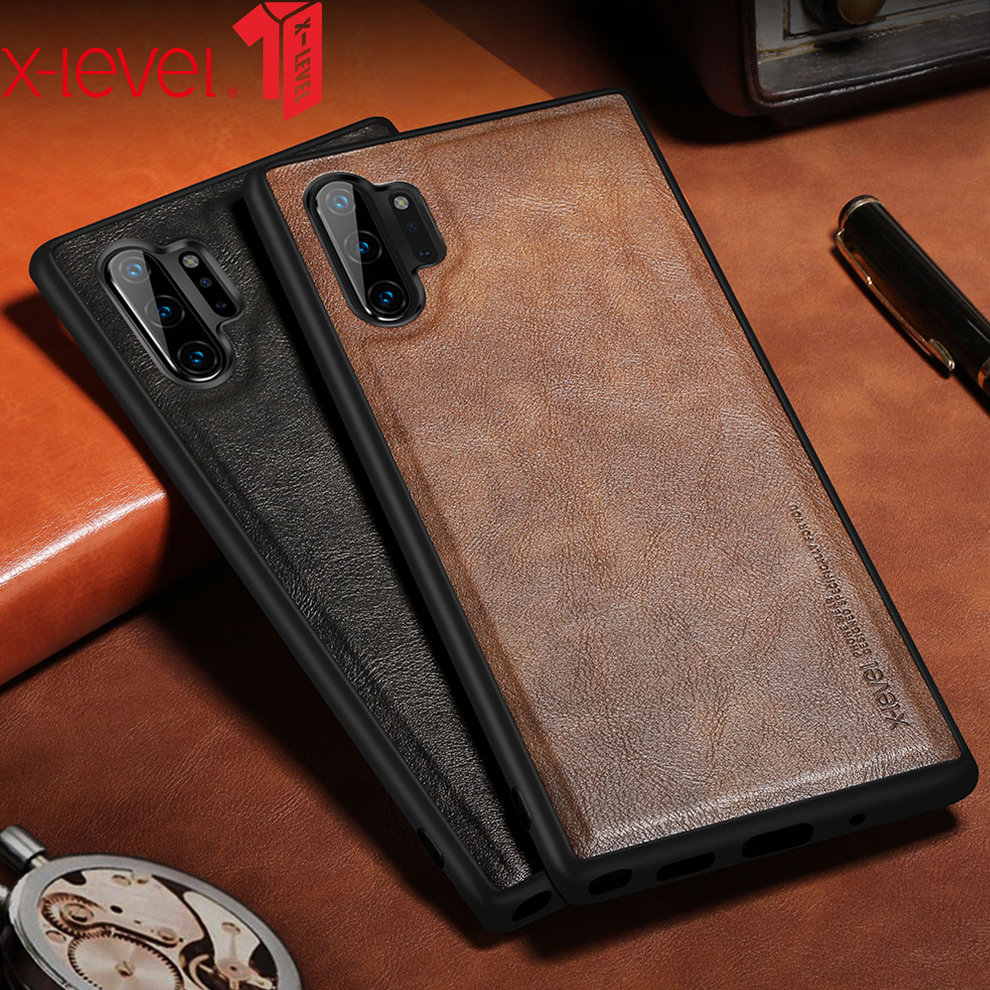 X Level Leather Case For Samsung Note 10 Plus Soft Silicone Edge Back Phone Cover For X-Level Leather Case For Samsung Note 10 Plus Soft Silicone Edge Back Phone Cover For Samsung Galaxy Note 10 Case Note10 Plus