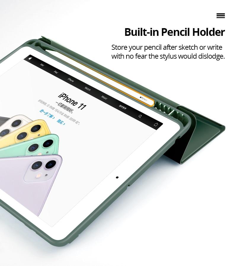 Чехол для 2019 iPad 10,2 7th 2018 2017 9,7 Mini 4 5 2020 Pro 11 10,5 Air 3 Smart Cover с карандашом держатель для iPad 5th 6th поколения-2