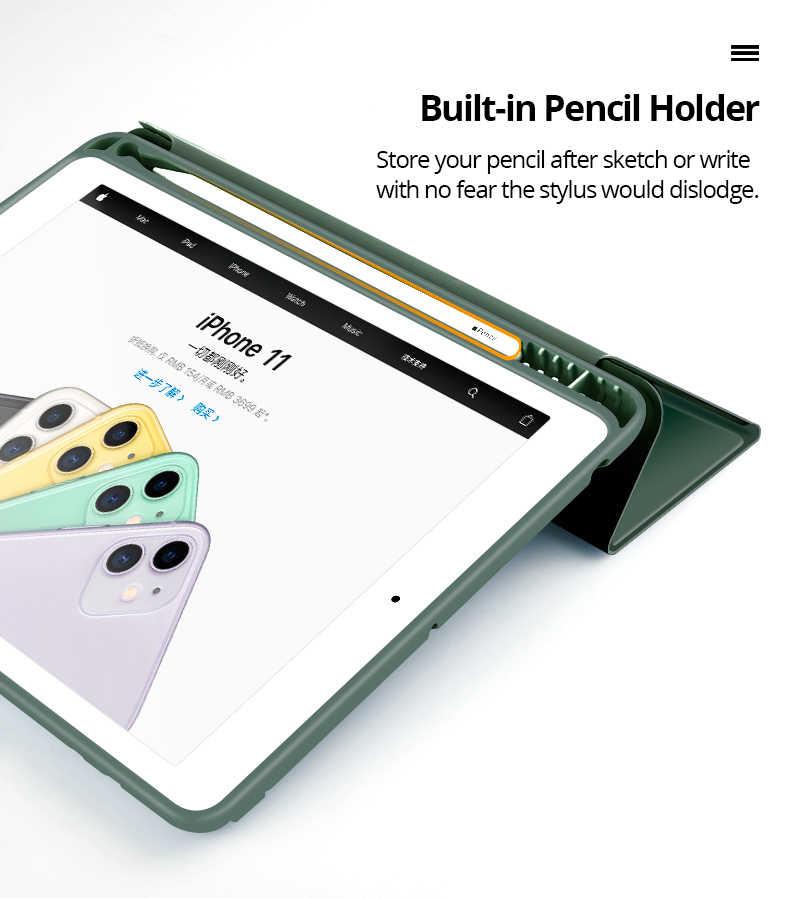 Case untuk 2019 iPad 10.2 7th 2018 2017 9.7 Mini 4 5 2020 Pro 11 10.5 Air 3 Smart Cover dengan Pensil Pemegang iPad 5th 6th Generasi