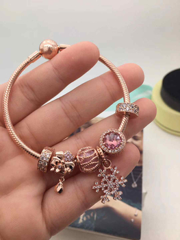 store high quality 1:1 100% 925 pink sterling gold snowflake pendant snow bracelet freight free