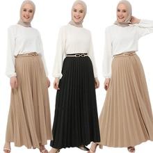 Islamic Clothing Pleated-Skirts Bottoms Arabic Modest Muslim Fashion Ramadan Oversized