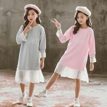 Big Girl Dresses 2019 Autumn Winter Girls Cotton Dress Fashion Kids Cute Patchwork Dress Korea Children Dresses Girl Clothing недорого
