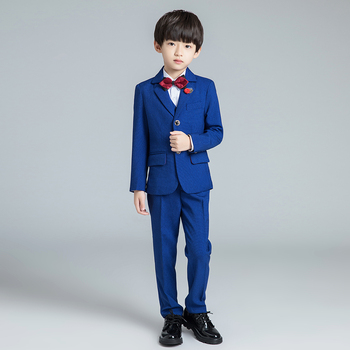YuanLu New Boys Suits For Wedding Party Piano Blazer Toddler Costume Silm Fit Single-Breasted Sea Blue