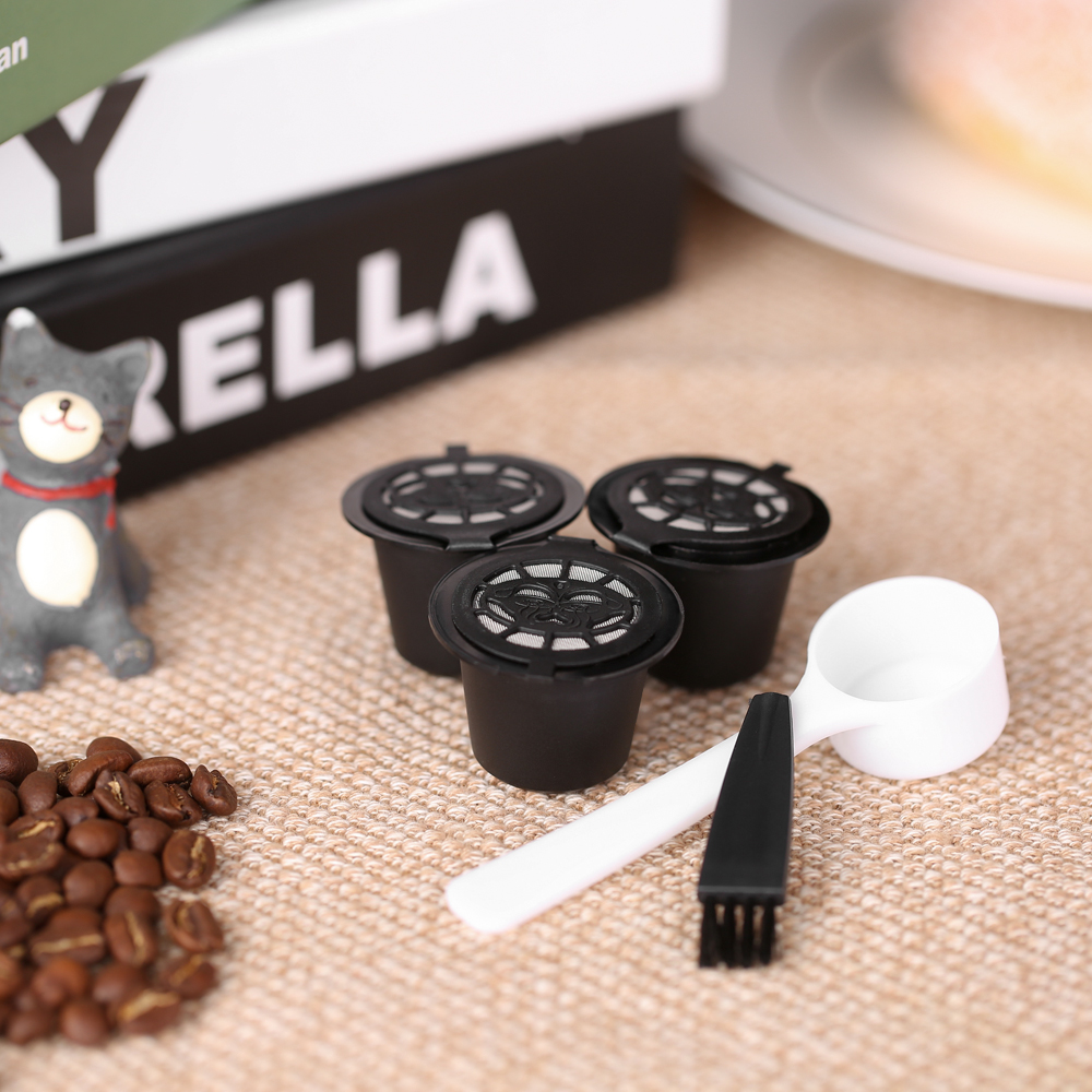 Coffee Filters 3pcs/set Reusable Capsule with Spoon and Brush Set of 3 Coffee Accessories for Nespreso Brewing Machine|Coffee Filters| |  - title=