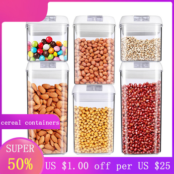 plastic cereal containers for food storage pantry  airtight jars kitchen organizer storage container cooking accessories kitchen stackable sealpot plastic containers box with buckle storage box for food cereal container fridge organizer storage
