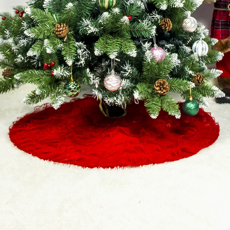 Christmas Tree Skirt Lace Soft Plush Floor Mat Decorations H