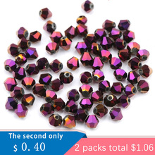 4mm shiny metal color bicone beads 5238 glass Beads half plated crystal jewelry for Jewelry Making 120pcs/lot