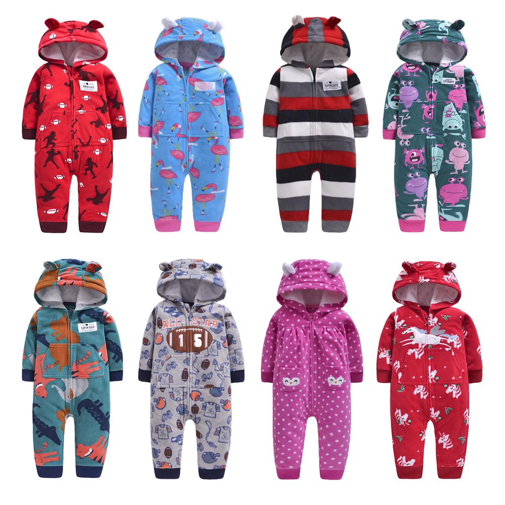 2020 Newborn Baby Winter Hoodie Clothes Boys Baby Clothing Girl 9m-24m Boy Jumpsuit Christmas Baby Romper Warm Clothing For Kids