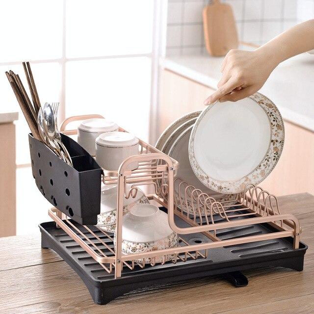 공간 알루미늄 접시 랙 주방 주최자 스토리지 드레이너 건조 접시 선반 싱크 용품 나이프와 포크 컨테이너