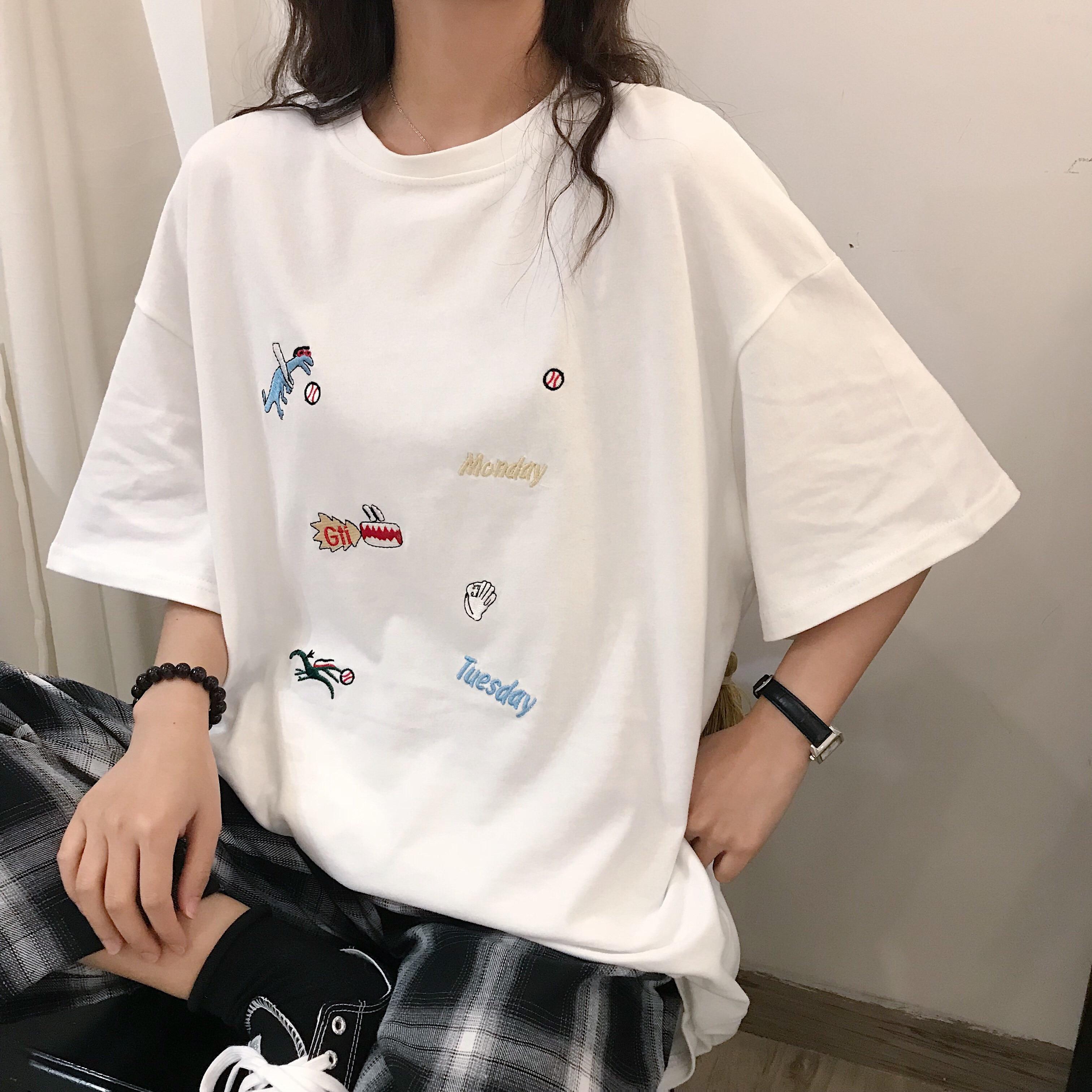 Women's Funny Cartoon Embroidered Short-sleeved Loose T-shirt Women Summer Top