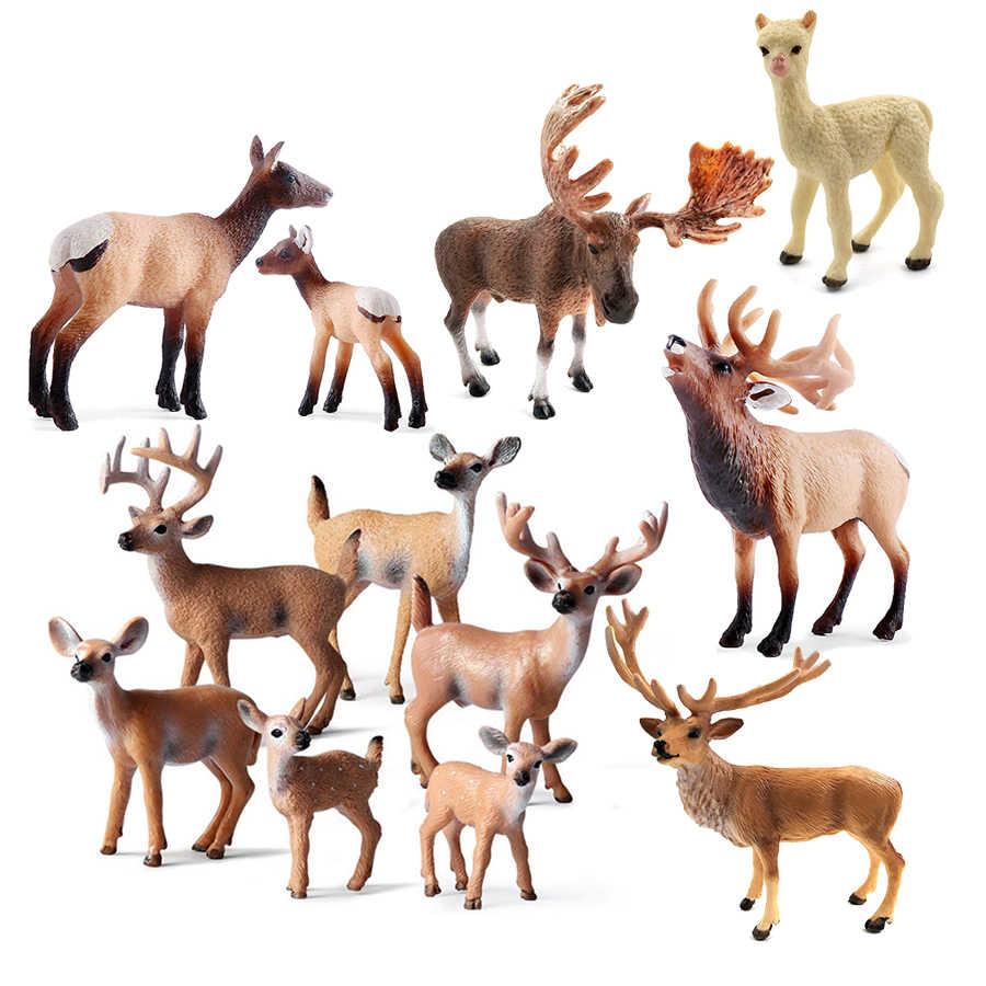 Simulação animal selvagem veado modelo figurinhas, alce, alce, rena, alpaca figuras de ação coleção figura brinquedos para crianças