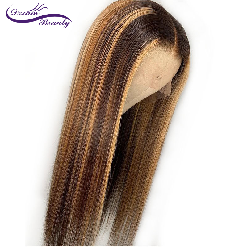 Image 5 - Highlight 13*4 Lace Front Human Hair Wigs With Baby Hair 8 28 Inches Straight Brazilian Remy Hair Bleached Knots Dream Beauty-in Human Hair Lace Wigs from Hair Extensions & Wigs