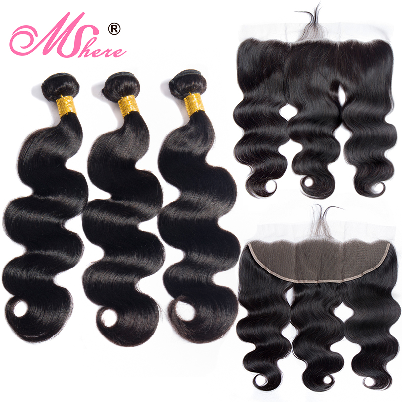 Human Hair Bundles With Closure Body Wave Hair Lace Frontal Closure With Bundles Peruvian Hair Weave Bundles Mshere Hair