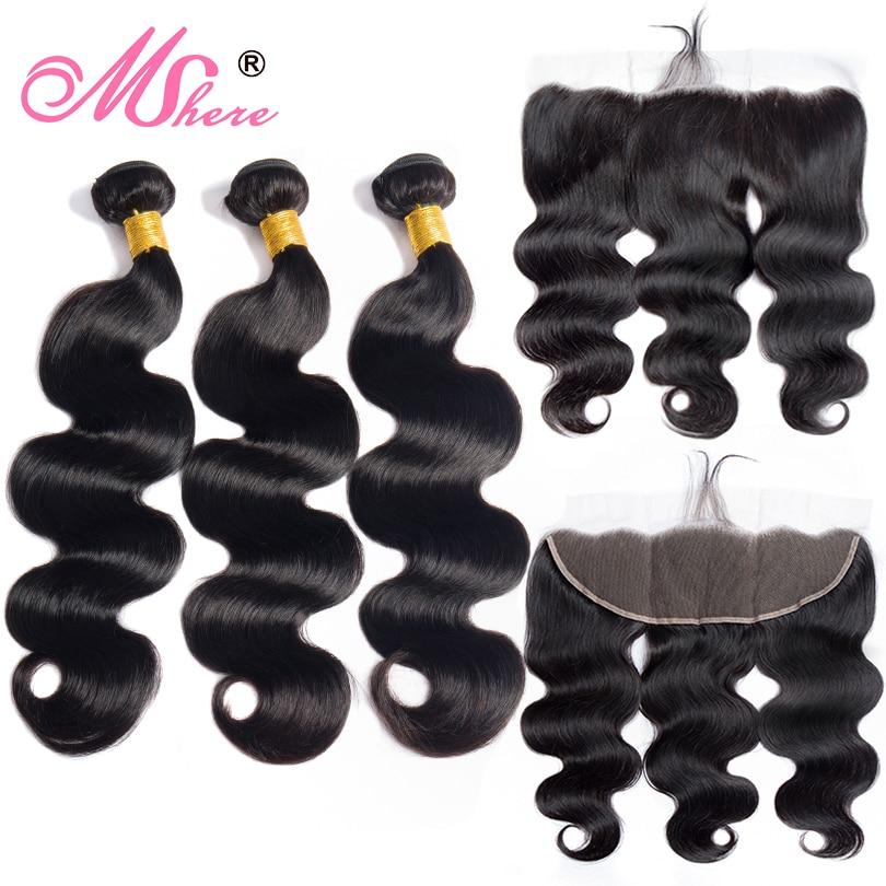 Human Hair Bundles With Closure Body Wave Hair Lace Frontal Closure With Bundles Peruvian Hair Weave Bundles Mshere Hair