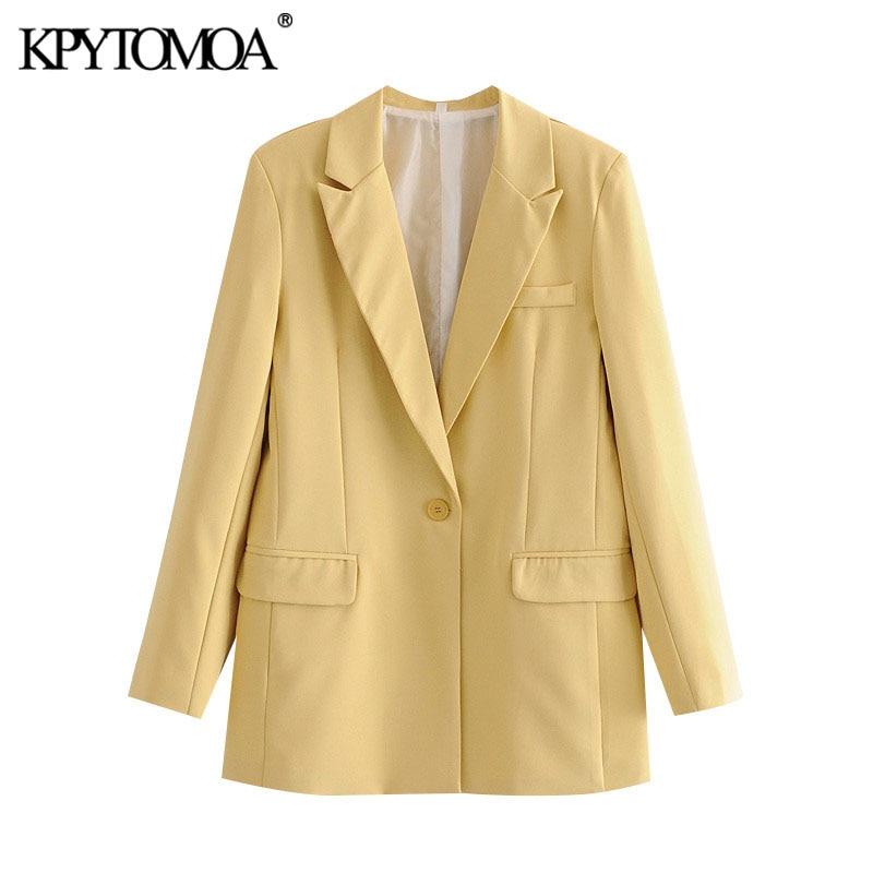 KPYTOMOA Women 2020 Fashion Office Wear Single Button Basic Blazer Coat Vintage Long Sleeve Pockets Female Outerwear Chic Tops