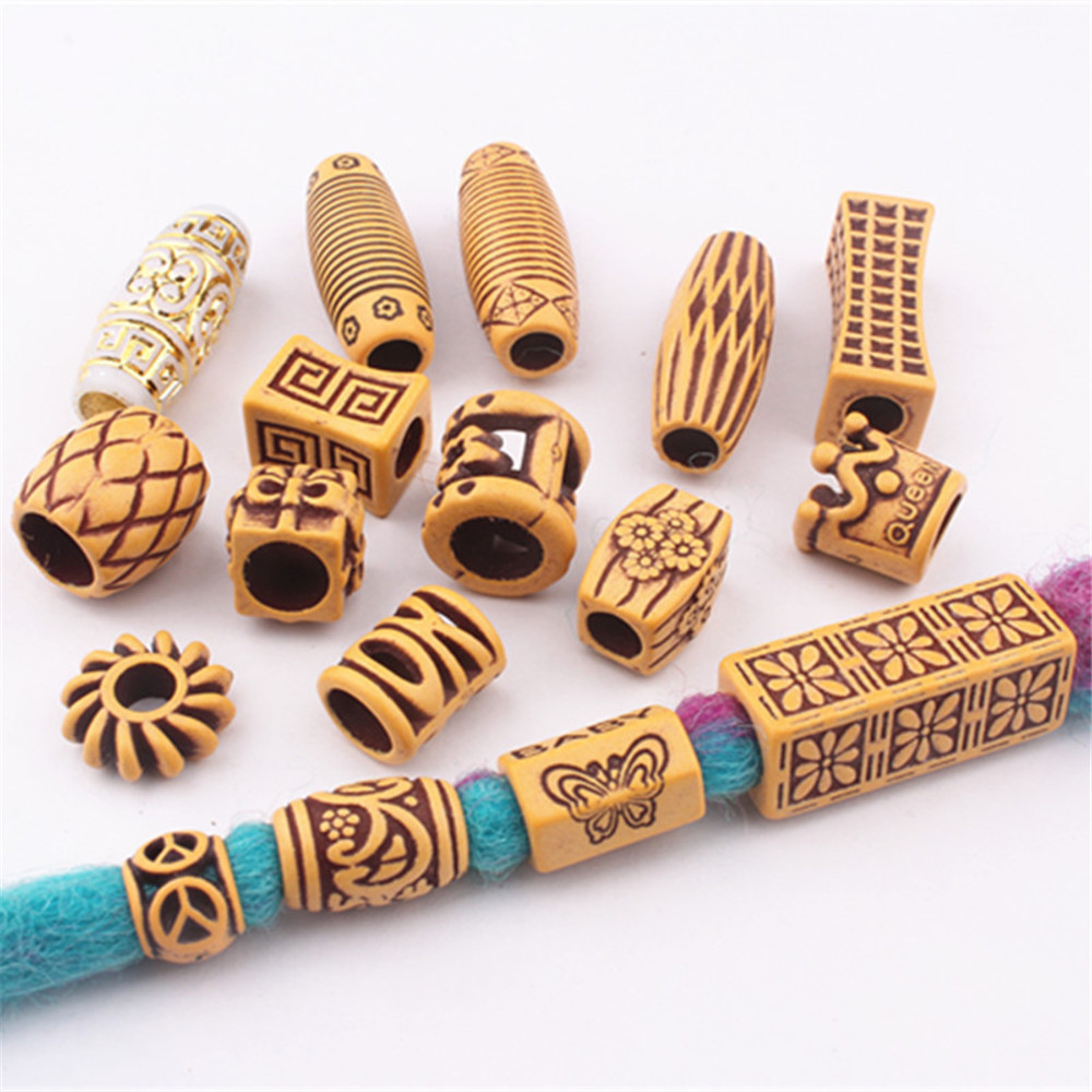10Pcs Hair Jewelry Braid Rings Decoration Pendants Dreadlocks Beads Cuffs Rings Imitation Wood Plastic Beading Accessories
