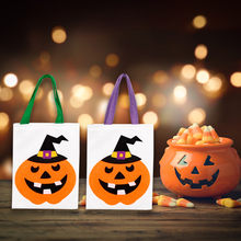 Storage Bag Pumpkin Lantern Canvas Tote Bag Women Large Shopper Carry Pouch Halloween Gifts Purple/Green Monden Aug15(China)