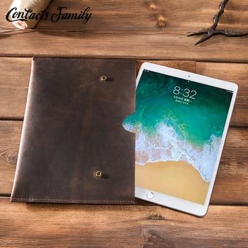 Contactos de cuero genuino casual retro iPad funda para ipad pro 11...