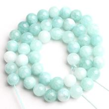 Natural Stone Blue Amazonite Angelite Stone Beads Round Loose Spacer Beads 15''Strand 6-12mm For Jewelry Making DIY Bracelets