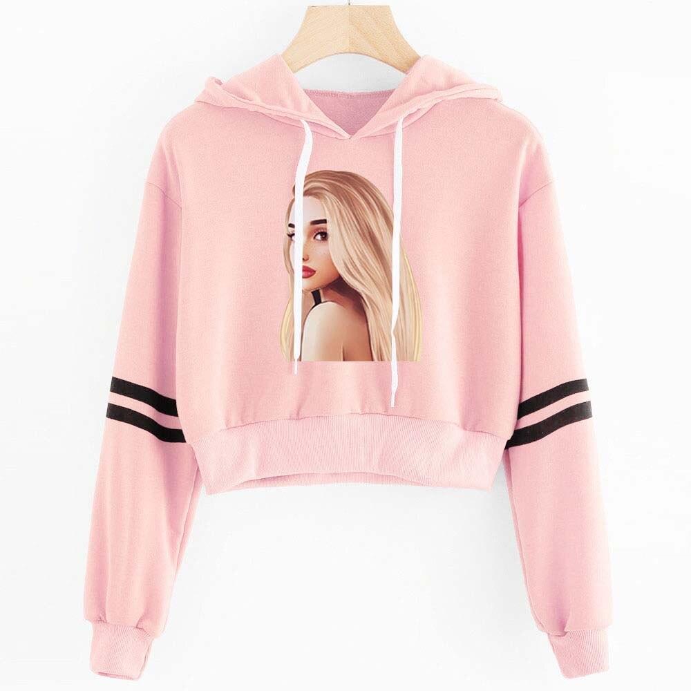2019 Hot Sale Ariana Grande Hoodies Women Sexy Fashion Hoodies Short Crop Design Sweatshirts High Quality Cotton Female Hoodies