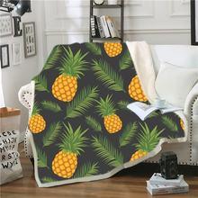 Одеяло из шерпы с мультяшными фруктами 3d Рисунок ананасов одеяло