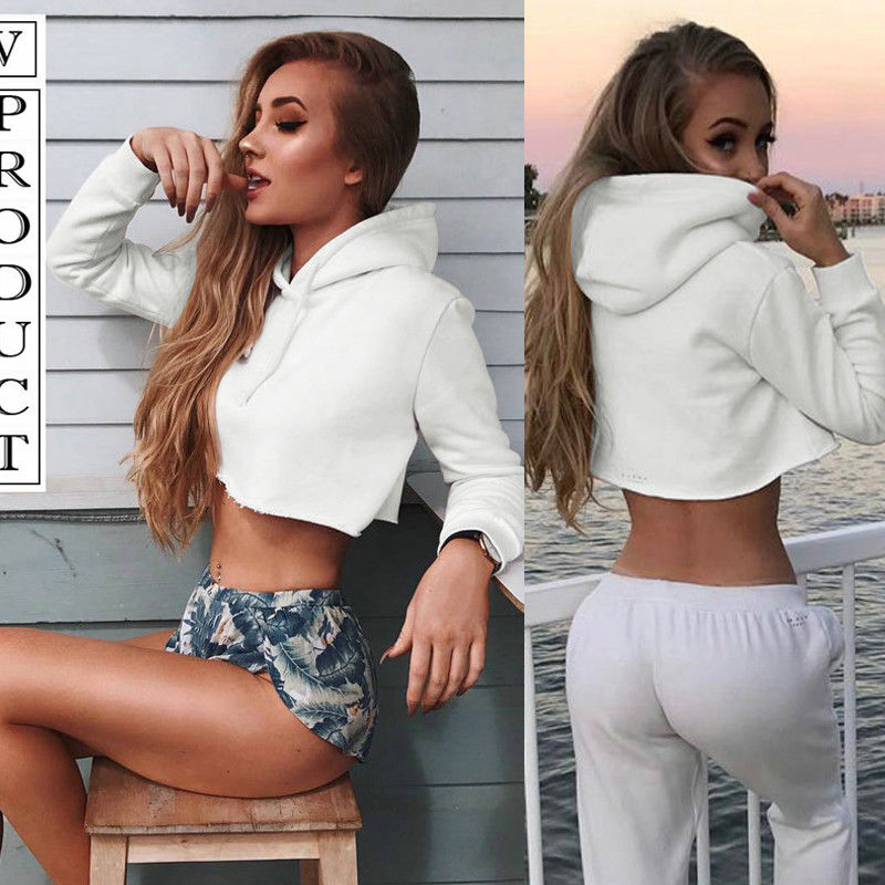 New Women Long Sleeve White Hoodie Loose Pullover Sweatshirt Workout Crop Tops Women Sexy Hoodie