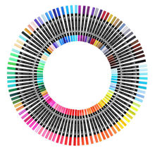 100 Color Dual Brush Art Markers Pen Fine Tip and Brush Tip Great for Bullet