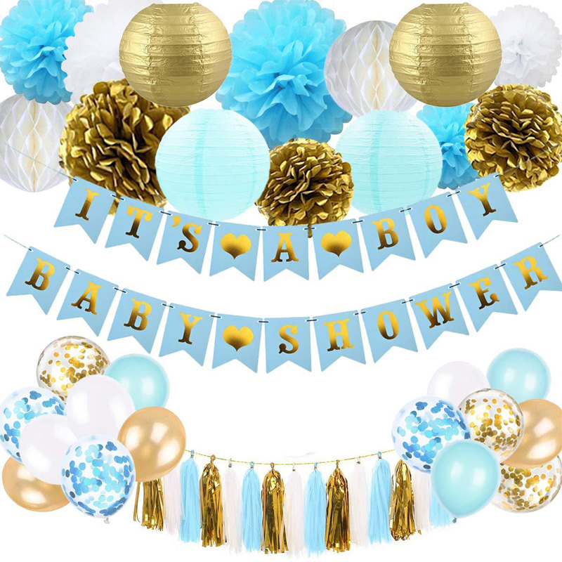 It's A Boy/Girl Gender Reveal Party Baby Shower Banner Balloons Decorations Tassel Tissue Paper Pom Poms Flowers Honeycomb Balls