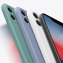 Luxury New Square Liquid Silicone Soft Case For iPhone X XR XS Max 11 Pro Max 7 8 6 6s Plus SE 2020 Full Protection Phone Cover